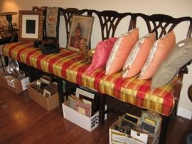 Beautiful chippendale style  bench, decorative picture frames , throw pillows