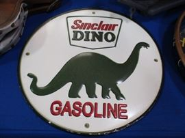 Sinclair Dino tin sign