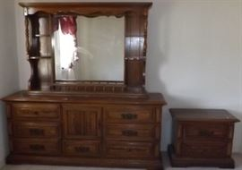 ECT001 Wooden Dresser with Mirror and Nightstand