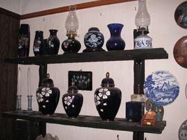 Japan & German cobalt pottery