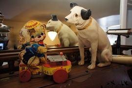 Antique Paper Mache RCA Dog Nipper & Vintage Fido Zilo Fisher Price Pull Toy