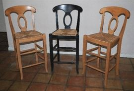 barstools,  also have 3 iron stools not pictured, swivel, and 2 wooden stools
