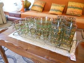 60's Bar Glass Set