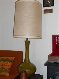 2 green retro pottery lamps