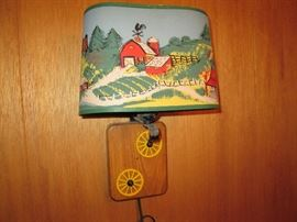 Vintage Child's Bedroom Farm theme wall lamp
