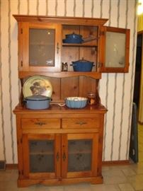 Country Cabinet/Hutch and Enamel Pans