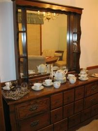 Dresser with Mirror and Oriental China Set