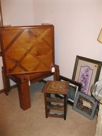 2 End Tables and Wine Rack with prints