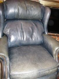 Bradington Young Navy Leather Recliner Chair