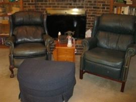 Navy Leather Chairs and Ottoman With Oak End Table/ Magazine Rack Combo