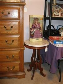 Vintage Table with Marble Top & Doll in box