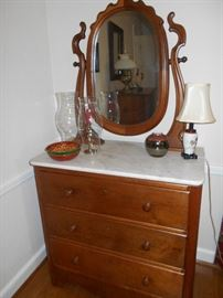 One of several nice pieces. Walnut and marble chest