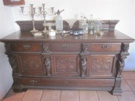 Large Carved Oak Buffet, S/P Candelabras & Barware