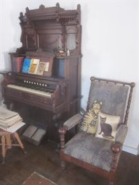 Pump Organ & Spool Armchair