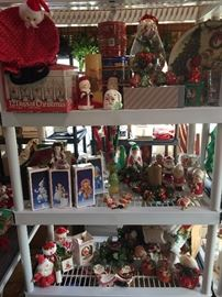 Mr. & Mrs. Claus items; 12 Days of Christmas glasses, Variety of Candles, Wreaths and Ornaments.