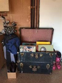 Trunks, Records, Golf Clubs and Bag.