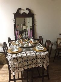 Dining Table and 4 Chairs. Table has built in leaf