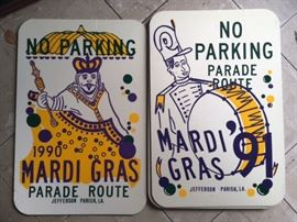 Rare Jefferson Parish Mardi Gras aluminum no parking signs!!