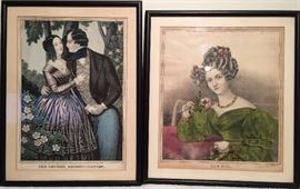 """Lover's Reconciliation"", Litho. by Baille     ""The Rose"", Litho"