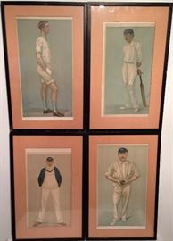 Set of 4 Cricket Lithos...Vanity Fair 1892, 1893, 1903, 1926
