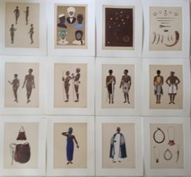 35 Sealed & Matted Serigraph Selections from Cameroon Tribes Portfolio by Emile Gallois, Paris (1882-1965)
