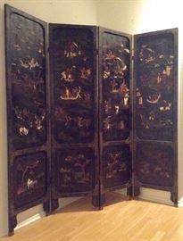 4 Panel Coromandel & Hardstone Antique Chinese Screen....Tells Story