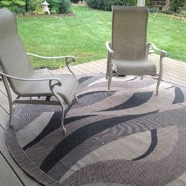 Patio furniture and outdoor rug