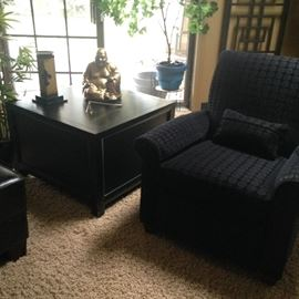 side chair and end table with Buddah statue