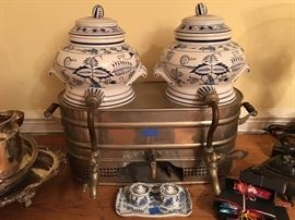 Antique Blue Onion tureens in warming unit