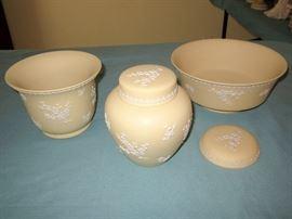 Wedgewood Jasperware Primrose yellow. Ginger jar, bowl and posy vase.