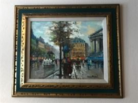Original oil painting on canvas of French street scene