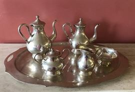 Colombian 900 silver large tray and tea set