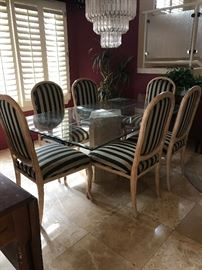 Lovely dining room set: Heavy beveled glass top and six custom upholstered chairs