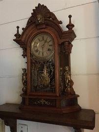 waterbury clock with figurines