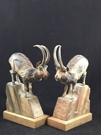 Vintage  Black Forest Carved Ibex Rams