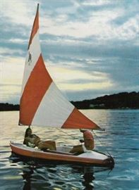 Stock Photo of 1984 Dolphin 15 Senior Sailboat available with Trailer.  This item may be purchased NOW. $895.00  Phone 254.337.0235