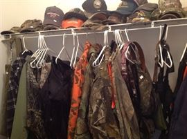 Hunting and fishing clothing, bags, waders and assorted accessories.