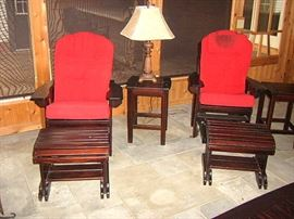 Pair Stickley style chairs, stands, & footstools.