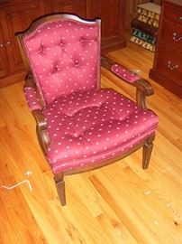 One of two upholstered chairs.