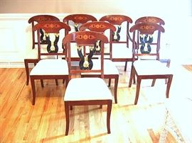 Federal/Empire style set of eight marquetry & gilt inlay dining room chairs.