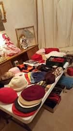 Lots of hats and scarves, including wool burets and brand new ralph lauren hat and scarf set.