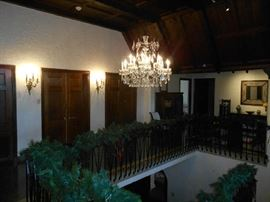 Second Floor: Although dark, you can see that the railing is still decorated--all the way to the loft!