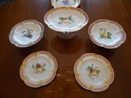 Dining Room:  The antique fruit/pink border compotes and plates were purchased from BRILLIANT ANTIQUES in Clayton.