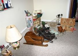 Nice collectible sleighs...Lamp...House..and more