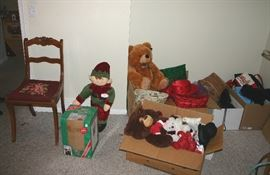 Stuffed animals....Vintage chair