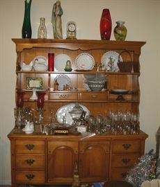 All wood very ! nice china cabinet ( this will go fast )...Assorted glass ware