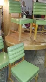 SUNDAY ALL REMIANING ITEMS 1/2 OFF!!          LARGE 2 DAY ESTATE/HOUSEHOLD SALE!!  All New Items!! 7 estate/household contents moved into our Hunterland Mall Warehouse location. The warehouse is packed FULL!! Much Mid Century items this sale including this oval dining table w/ 4 chartreuse padded chairs-very cool!!