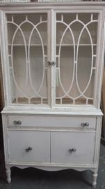 Shabby painted glass front cabinet