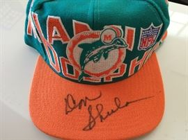 Miami Dolphins cap signed by Don Shula
