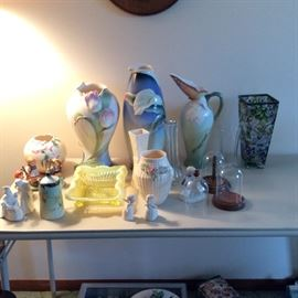 Franz(sold) and Belleek vases, miscellaneous